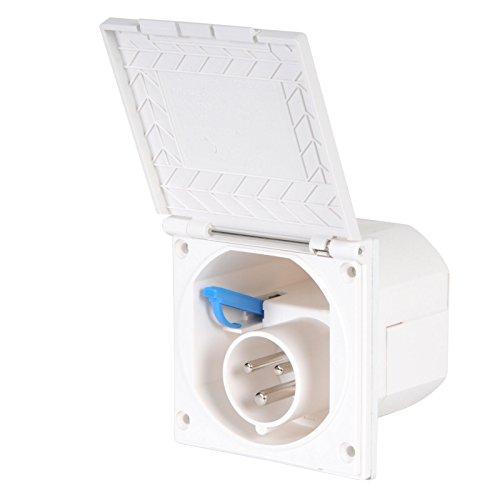 wamovo CEE Aussensteckdose weiß Spritzwasser geschützt 200-240V, 16A, 3 polig IP44