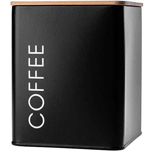 """KADAX Vorratsdose mit Deckel, Vorratsbehälter aus Stahl pulverbeschichtet, Aufbewahrungsdose, Aufbewahrungsbehälter, Behälter, luftdicht, auch für Gewürze, Kakao (quadratisch, """"Coffee"""", Schwarz)"""