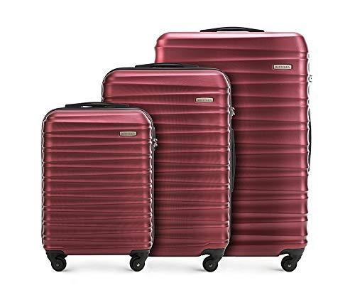 Stabiler Koffer-set 3tlg. Trolley Koffer Reisekoffer von Wittchen Burgund ABS Hartschalen kofferset Trolley 4 rollen Kombinationsschloss
