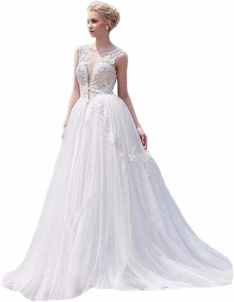 Formal Lady A Line Applique Tulle Wedding Dress Sleeveless V Back Wedding Gown Crew Neck Bridal Dress