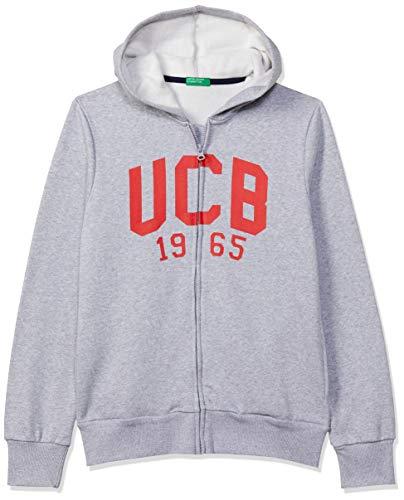 United Colors of Benetton Boys' Zipper Sweatshirt with Hoodie (30442ECOMI_GREY MELANGE_XX)