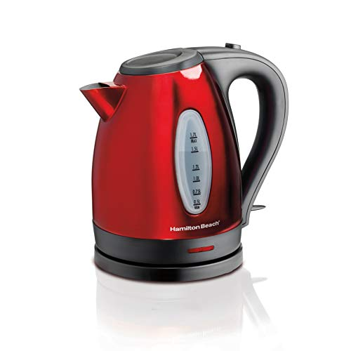 Hamilton Beach 040094408856 (40885) Electric Kettle, for Tea & Coffee, 1.7 Liter, Red