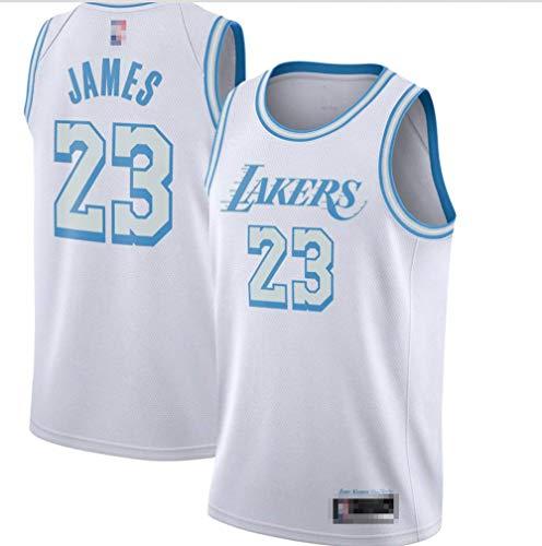 Jerseys De Baloncesto para Hombres, NBA Los Angeles Lakers # 23 Lebron James - Ropa Deportiva Clásica Camiseta Sin Mangas, Tops De Confort Sportswear,Blanco,L(175~180CM)