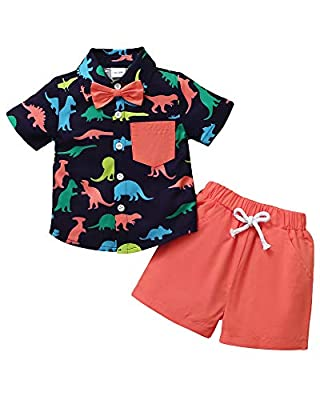 Toddler Baby Boy Clothes Button Down Shirt Boy Clothes Little Dinosaur Printed Baby Boy Outfits Shorts Set Summer Baby Boy's Clothing 18-24 Months Red from