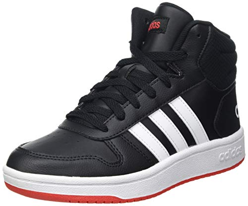 adidas Hoops Mid 2.0 Sneaker, Core Black/Cloud White/Vivid Red, 39 1/3 EU