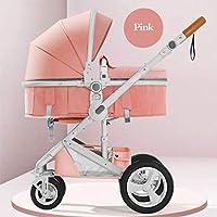 OESFL 0-3歳の子供でオールシーズンズ赤ちゃんベビーカーに適したベビーカー軽量、折り畳み式のプルロッドタイプの幼児ベビーカー、 (Color : Pink)
