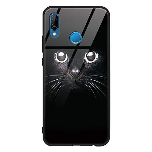 ZhuoFan Funda Huawei P20 Lite, Cárcasa Silicona 3D Cristal Templado con Dibujos Design Antigolpes de Protector Case Cover Piel Fundas para Movil Huawei P20Lite 5,84 Pulgadas 2018, Gato Negro