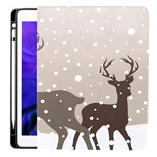 Ipad Pro 12.9 Case 2020 & 2018 with Pencil Holder Snow Winter Landscape Two Deers Birch Smart Cover Ipad Case, Supports 2nd Gen Pencil Charging,case for 2020 Ipad Pro 12.9 Cover with Auto Sleep/Wake