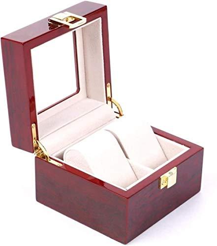 Caja de almacenamiento para reloj, caja de almacenamiento de doble capa, 2 rejillas de madera, soporte para relojes de pulsera, organizador de joyas de regalo (color de foto: tamaño único)