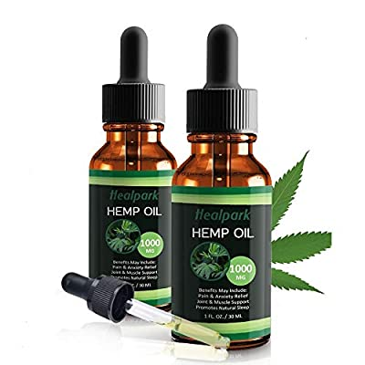 (2 Pack) Hemp Oil 1000mg for Pain Relief Anxiety - 100% Natural Organic Hemp Seed Extract for Joint, Stress, Mood & Sleep Support - Zero THC CBD Cannabidiol - Pure Hemp Oil Drops by Healpark