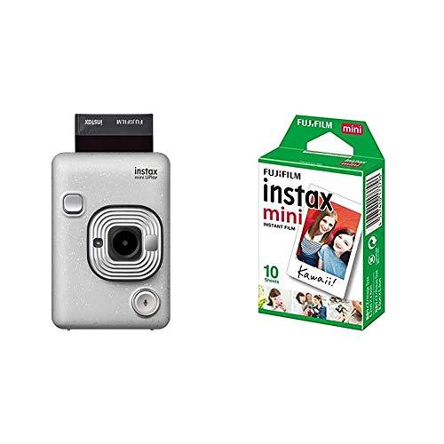 Fujifilm Instax Mini LiPlay Stone blanco Fotocamera Ibrida Istantanea e Digitale, Registra 10rdquo & Instax Mini Film Pellicola Istantanea per Fotocamere Instax Mini