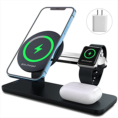 ANPULES 3 in 1 Magnetic Wireless Charger Station, Mag Safe StandDock with 18W PD Adapter Compatible with iPhone 12 Pro Max/Mini AirPodsApple Watch (Only for iPhone12 Series)