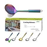 Berglander cuchara de espuma de arco iris, cuchara de colador de acero inoxidable, espuma de cocina colorida enchapado en titanio, cucharas ranuradas, espuma de metal para cocinar