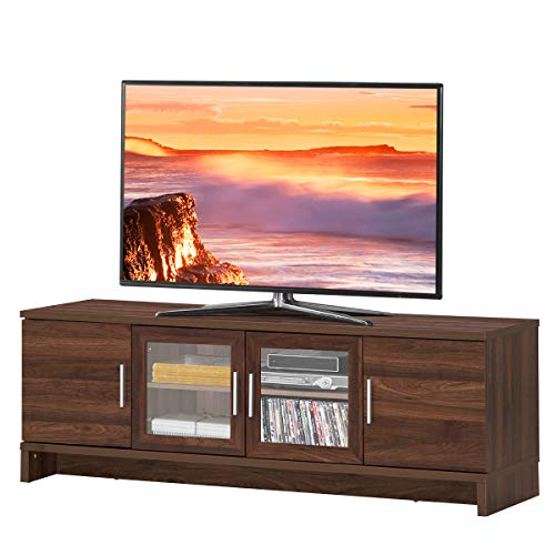 Tangkula Classical TV Stand for TVs up to 70 Inches Flat Screen, Modern TV Cabinet w/Cable Management, Glass Doors & 3-Position Adjustable Shelf, for Living Room Bedroom, TV Console Table (Walnut)