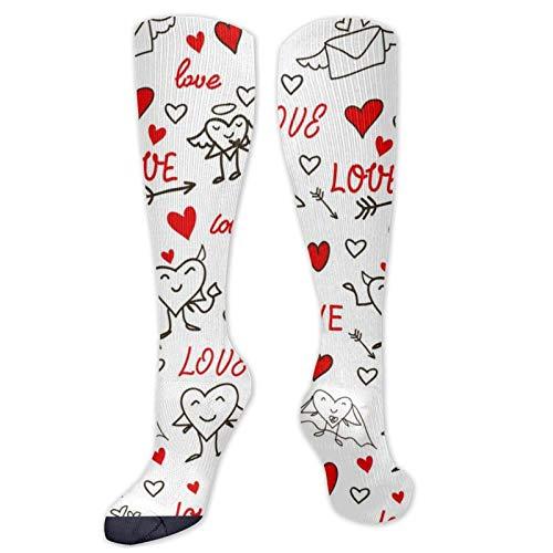 FETEAM Love Heart Cupido Angel Arrow Novedad Cool Dress Crew Calcetines, Calcetines largos Transpirable Comodidad Compresin Calcetines de tobillo alto 2 Pares