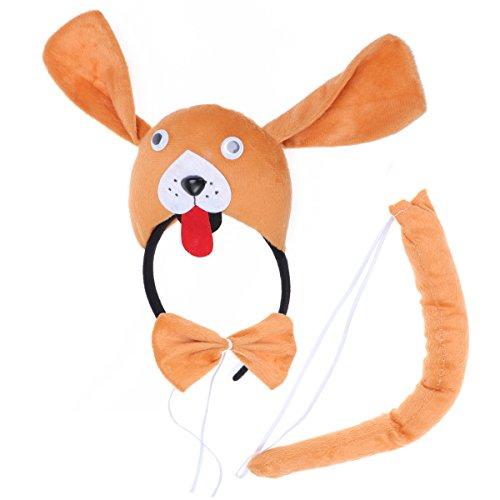BESTOYARD Kinder Kostüme Hund Kopf Stirnband mit Ohren Tier Schwanz Fliege für Cosplay Halloween Party Favors 3 Stück