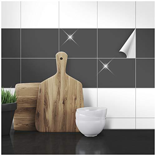 Wandkings Fliesenaufkleber - Wähle eine Farbe & Größe - Dunkelgrau Glänzend - 15 x 20 cm - 20 Stück für Fliesen in Küche, Bad & mehr