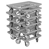10 Stück Transportroller für Kisten 60 x 40 cm mit 4 Lenkrollen in grau