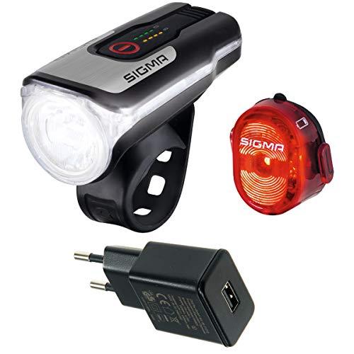 SIGMA SPORT Aura 80 USB/Nugget 2 Beleuchtungsset (schwarz mit USB Netzteil)