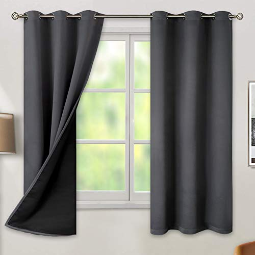 BGment Thermal Insulated 100% Blackout Curtains for Bedroom with Black Liner, Double Layer Full Room Darkening Noise Reducing Grommet Curtain ( 42 x 63 Inch, Dark Grey, 2 Panels )