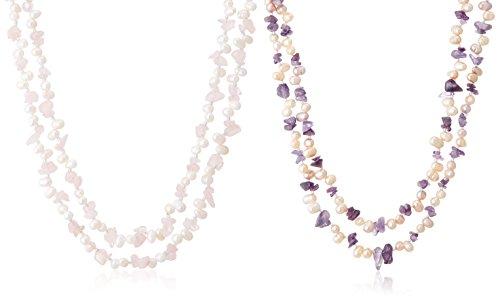 [ピュアパール] Pure Pearl 淡水パール&アメシスト&ローズクウォーツ 2本組ロングネックレス パープル クリッカー付き PP0062N-12N-PU