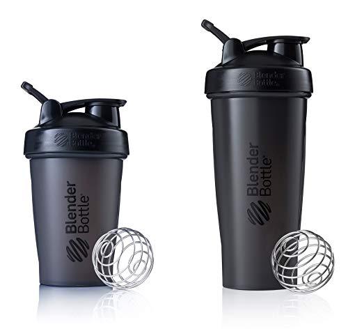 2 Pack Blender Bottle Classic 20 Oz & 28 Oz Classic loop top, Shaker Cup By SUNDESA Protein Shaker, Full Black