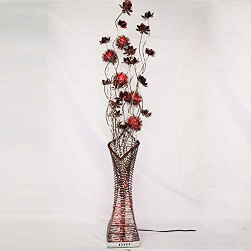 ZMLG LED Stehlampe Schlafzimmer, Minimalistische Blütenform Stehleuchte mit Fernbedienung Wohnzimmer Deko Stimmungslicht Metallbasis für Mädchenraum Jungenzimmer,Braun