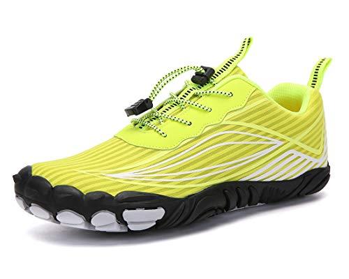Teechodina Unisex Traillaufschuhe Herren Damen Wanderschuhe Barfußschuhe Laufschuhe Knit Sneaker Fitnessschuhe Fivefinger Zehenschuhe, Gelb, 43