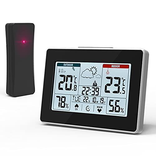 Estación Meteorológica con Sensor Inalámbrico para Interior Exterior, Termómetro Digital Higrómetro con Temperatura, Humedad, Pronóstico del Tiempo, Hora del Día, 3 Canales, Pantalla Táctil