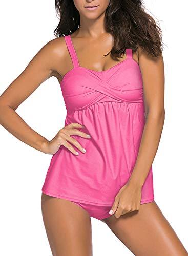 Aleumdr Damen Strapless Wrap Swim Top mit Schultergurten Badeanzüge Rosa Üergröße XXL