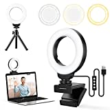 FDKOBE 4'' Small Ring Light for Laptop/Computer, Zoom Call Lighting, Video Conference Lighting with Webcam Style Mount and Tripod, Webcam Light, 3 Light Modes & 10 Brightness Levels, Selfie, Makeup