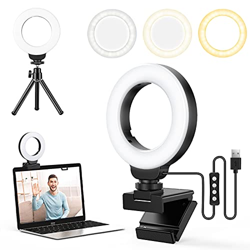 FDKOBE 4'' Small Ring Light for Laptop/Computer, Zoom Call Lighting, Video Conference Lighting with Webcam Style Mount and Tripod