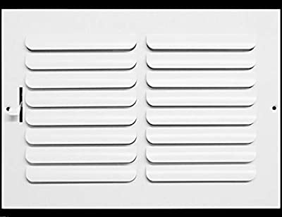 "12""w x 8""h 1-Way Fixed Curved Blade AIR Supply Diffuser - Vent Duct Cover - Grille Register - Sidewall or Ceiling - High Airflow - White"