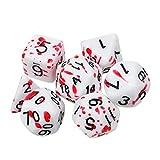 YaGFeng Poliédrica Dados 7PCS poliédricos Dados Conjunto de Juegos de Mesa de los Amantes por Juegos Juego de Roles El Papel Que juegan los Dados (Color : White, Size : One Size)