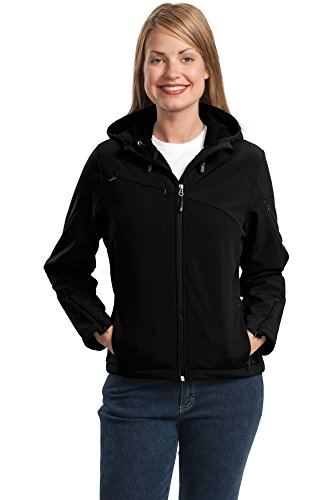 Port Authority® Ladies Textured Hooded Soft Shell Jacket. L706 Black/Engine Red