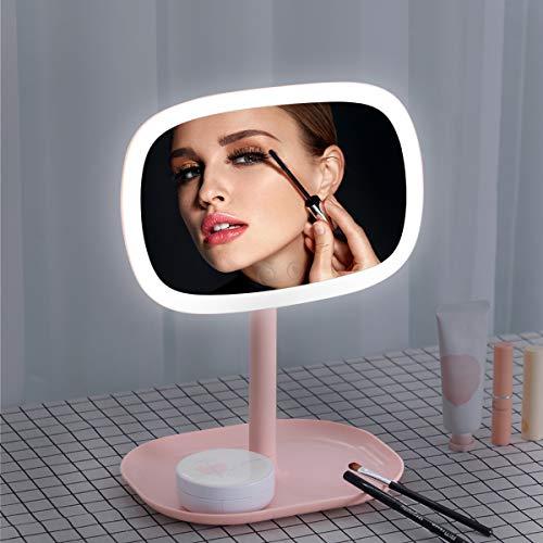 KINLO Kosmetikspiegel Schminkspiegel Schreibtischlampe mit LED dimmbar Tischlampe Spiegel mit abnehmbar 10X Vergrößerungsspiegel zum...
