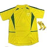 Camiseta Top de fútbol Retro de Jersey Sportswear, 2002 Brasil Uniforme de fútbol de Color sólido conmemorativo M