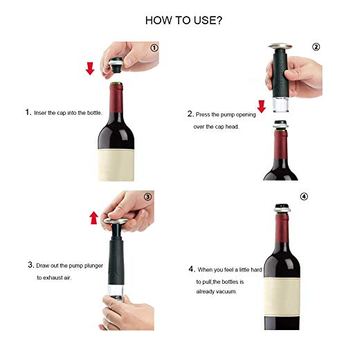 Secura Vacuum Wine Saver Preserver Pump with 6 Wine Bottle Stoppers Preserve Wine Bottles for Longer