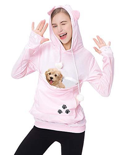 Women Plus Size Hoodies Long Sleeve Sweatshirt Big Pouch Känguru Beutel Träger Pullover Pink XL
