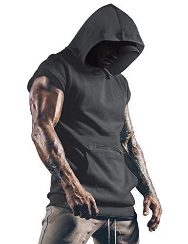 Herren Tank Top Tanktop Kapuze Tankshirt Ärmellos Bodybuilding Shirt Unterhemd T-Shirt Tshirt Tee Muskelshirt Achselshirt Trägershirt Ärmellose Training Dunkelgrau S