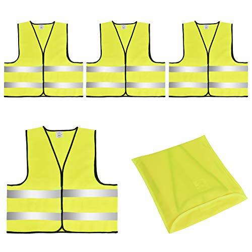 Linkbro 4X Warnwesten mit Tasche, Hochreflektiv Sicherheitswarnweste EN 471, Unisex Größe XXL, Auto Sicherheitsweste für Pannen.