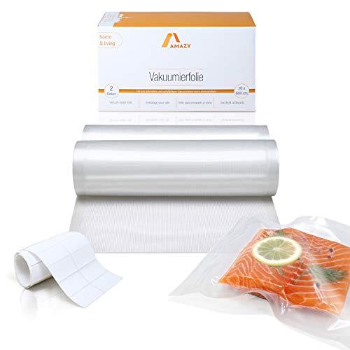 Amazy Vakuumierfolie (2 Rollen | 20 x 600 cm) inkl. Etiketten – 2 individuell zuschneidbare Folienrollen für schnelles Vakuumieren von Lebensmitteln, für alle gängigen (Balken-) Vakuumierer geeignet