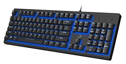 DAREU Quiet Wired Keyboard, LED Backlit Mechanical Feeling Keyboard, Water-Resistant Keyboard, for PC/Mac Game, Office Typing, Black