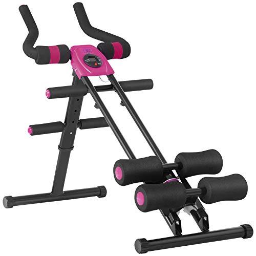AB Booster, 11 Allenamenti Muscoli Macchinario Fitness Panca Multifunzione per Addominali,Pettorali, Bicipiti,Quadricipiti e Dorsali Attrezzatura per Allenamento Display LCD e Resistenza (Rosa Rossa)