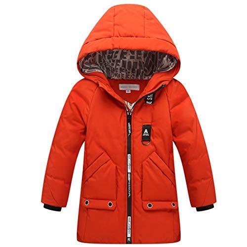 Jungen Winterjacke Daunenjacke Steppjacke KinderVerdickte Lange Warm Herbst Wintermantel KapuzenparkaTrenchcoat Orange 130