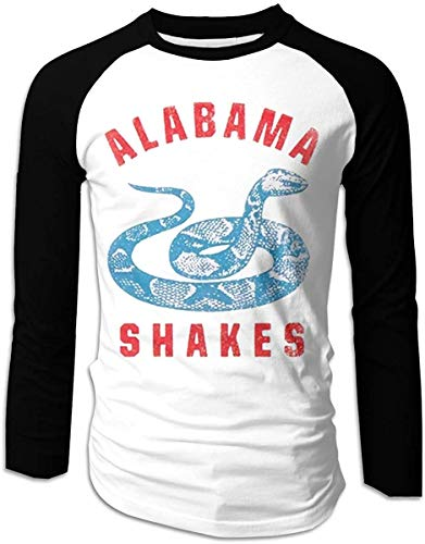 Alabama Shakes 2016 Tour Logo Mens Long Sleeve Raglan Baseball T-Shirt Classic Adult Cotton Top Tee Black,Black,Small