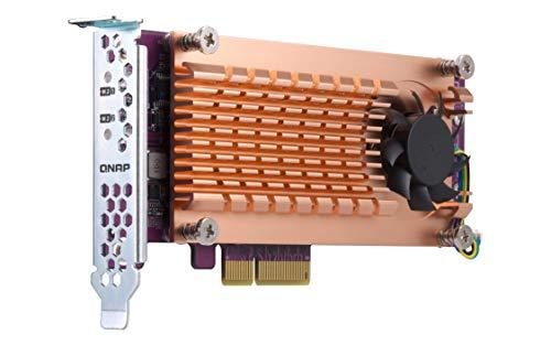 Qnap Dual M.2 22110/2280 SATA SSD Erweiterungskarte (PCIe Gen2 X 2), Low-Profile Bracket vorinstalliert, Low-Profile Flat und Full Height sind gebündelt PCIe Gen2x4, M.2PCIeSSD X 2