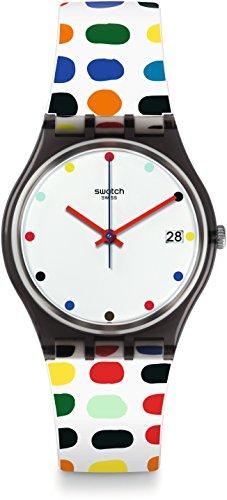 Swatch Damen Digital Quarz Uhr mit Silikon Armband GM417