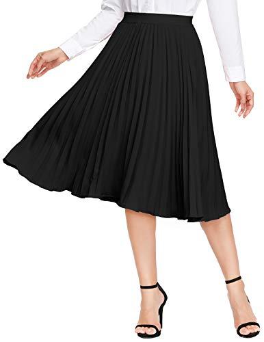 KANCY KOLE Women's Pleated Skirt Miidi Basic High Waist A Line Swing Flowy Skirt (Black,M)