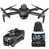 rzoizwko Drone, Drone Quadcopter UAV 5G WiFi FPV, GPS Drones con cámara 4K HD para Adultos, GPS Drone con cardán de 3 Ejes, RC Drone 360deg;evasión automática de obstáculos, con 2 baterías 50x Zoom